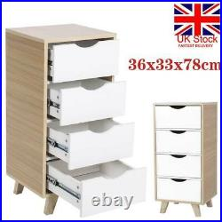 Tall 4 Drawers Wooden Bedside Side Table Cabinet Cupboard Storage Nightstand