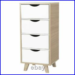 Tall Bedside Table Cabinet 4 Wooden Drawers Nightstand Storage Cupboard Bedroom