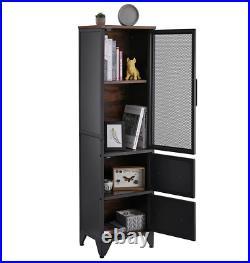 Tall Industrial Cabinet Vintage Retro Cupboard Rustic Metal Storage Display Unit