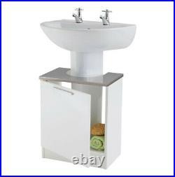 Tamar Under Sink White Grey Vanity Unit Wooden Storage Cabinet Bathroom Cupboard