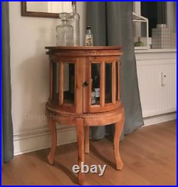 Tea Display Cabinet Glass Storage Unit Antique Drinks Chest Solid Mahogany Tray