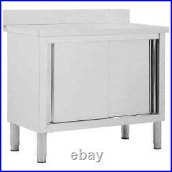 UKING Work Table with Sliding Doors 100cm Working Storage Cabinet Kitchen