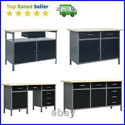VidaXL Metal Workbench Table Cabinets Work Bench Storage Garage Workshop Black