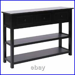 VidaXL Wooden Sideboard 3 Drawers Black Side Storage Cabinet Console Table