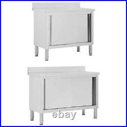 VidaXL Work Table with Sliding Doors Work Storage Cabinet Kitchen 100cm/120cm