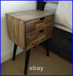Vintage Bedside Cabinet 2 Drawer Storage Unit Retro Style Side Bedroom Furniture