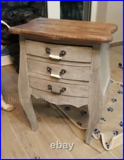 Vintage Bedside Table Antique French Cabinet 3 Drawers Storage Stand Furniture