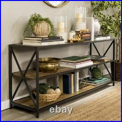 Vintage Industrial Shelving Unit Large Console Table Rustic Metal Book Storage