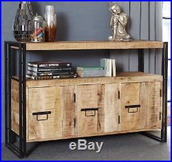 Vintage Industrial Sideboard Rustic Console Table Metal Cabinet Storage Cupboard