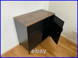 Vintage Industrial Steel Cabinet Black Metal Cupboard Storage Unit Side Table