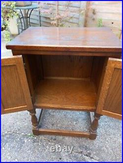 Vintage Old Charm Pedestal Carved Oak Cabinet Cupboard Storage Unit Table