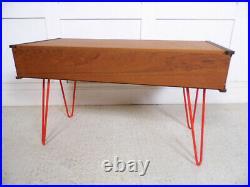 Vintage Retro Midcentury MCM Teak Hairpin TV Stand Coffee table Storage 60s