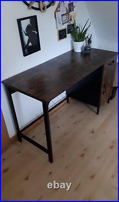 Vintage Rustic Computer Table Retro Writing Desk Storage Cabinet Metal Frame