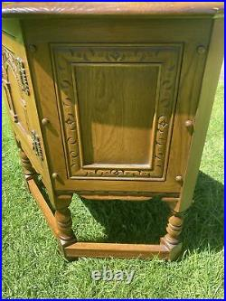 Vintage Wood Bros Old Charm Oak Carved Canted Telephone Table Cabinet Storage