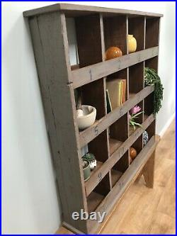 Vintage Wooden Pigeon Hole Cabinet Kitchen Table Shed Storage Rustic Industrial
