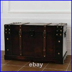 Vintage Wooden Treasure Chest Storage Cabinet Trunk Box Living Room Coffee Table