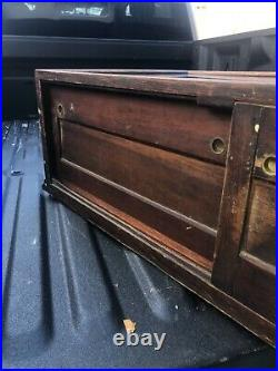 WOW vintage Oak table top country store display cabinet 72/24/13.5 inside 12 h