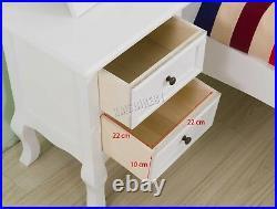WestWood 1 Pair Vintage Bedside Cabinet Table 2 Drawers Storage BCU12 White