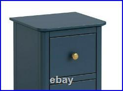 Westbury Blue Narrow Bedside / Slim Modern Small Storage Cabinet / Lamp Table
