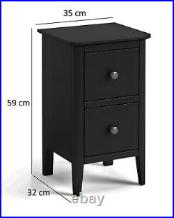Westbury Grey Narrow Bedside / Slim Modern Small Storage Cabinet / Lamp Table