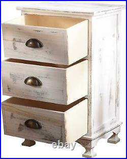 White Bedside Table Tall Unit Solid Wood 3 Storage Drawers Shabby Chic Cabinet