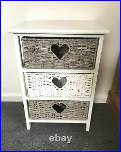 White Grey Storage Unit Chest Wicker Drawers Girls Bedroom Bedside Table Cabinet