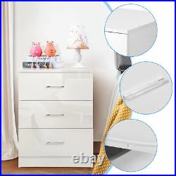White High Gloss Nightstand Bedside Table 3 Drawer Cabinet Storage Stand Wooden