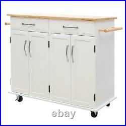 White Kitchen Island Breakfast Bar Block Cabinet Storage Trolley Cart Table