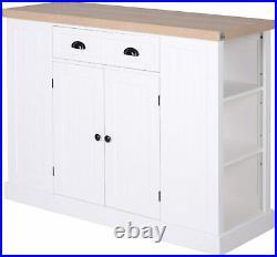 White Kitchen Island Large Storage Cabinet Buffet Sideboard Breakfast Bar Table