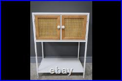 White Metal & Rattan Bedside Table Storage Cabinet