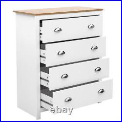 White Oak Bedroom Chest of Drawers Bedside Cabinet Storage with 4 Draws Table
