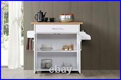 White Wood Top Kitchen Trolley Cart Island Rolling Storage Table Utility Cabinet