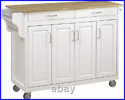 White Wooden Kitchen Island Rolling Storage Cart Prep Table Utility Cabinet Bar
