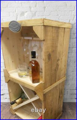 Wine Rack Solid Wooden Rustic Reclaimed Timber Wine Rack Drinks Cabinet Storage
