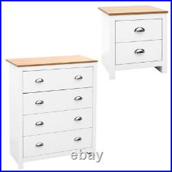 Wood Chest of 2/4 Drawer Tall Bedside Table Storage Cabinet White Living Bedroom