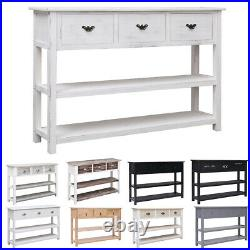 Wood Console Table Sideboard 3 Drawers 2 Shelves Storage Cabinet Unit Hallway