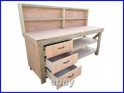 Wooden Eucalyptus Tool Cabinet Workbench With Storage Shelf Garage Work Table