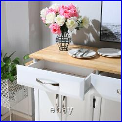 Wooden Kitchen Trolley Cart Large Rolling Storage Cabinet Island Cupboard Table