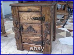 Wooden Pine Bedside Cupboard Cabinet Storage Bed Side Table Bedroom (GR1)