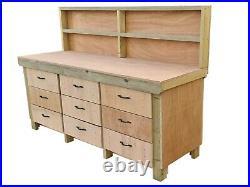 Wooden Workbench Tool Cabinet Eucalyptus Top Industrial Storage Work Table