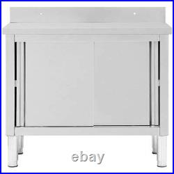 Work Table with Sliding Doors Stainless Steel Working Storage Cabinet Kitchen